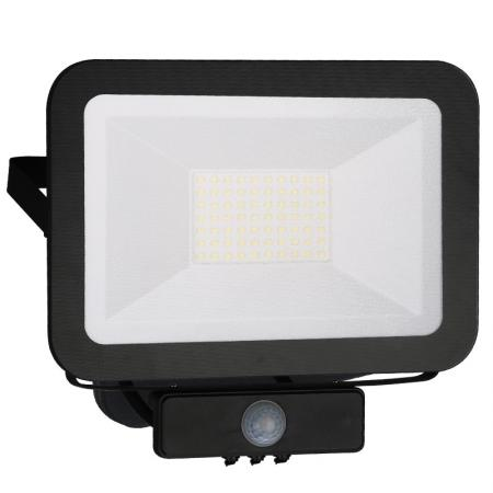 LED HQ reflektor 50W+PIR IP65 senzor/4000K/BK/PS - LF2024S